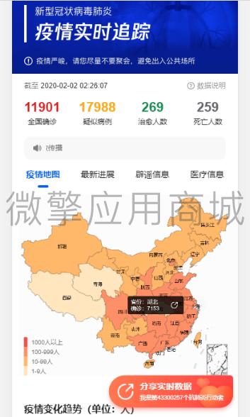 wq模块武汉肺炎疫情实时数据v1.0.3-渔枫源码分享网